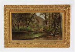 19th c. American O/c forest scene, signed, dated