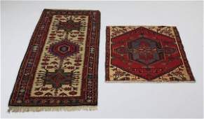 (2) Turkish tribal hand knotted wool rugs