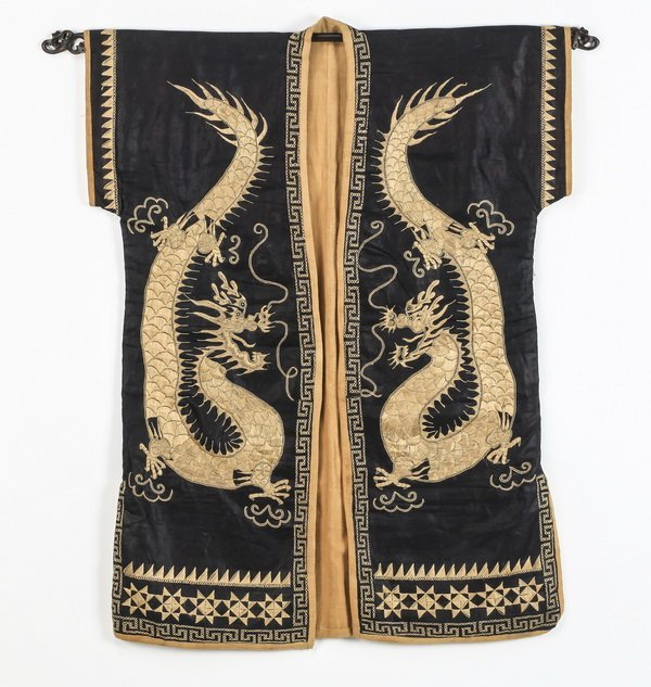 Asian silk child's robe, with embroidered dragons