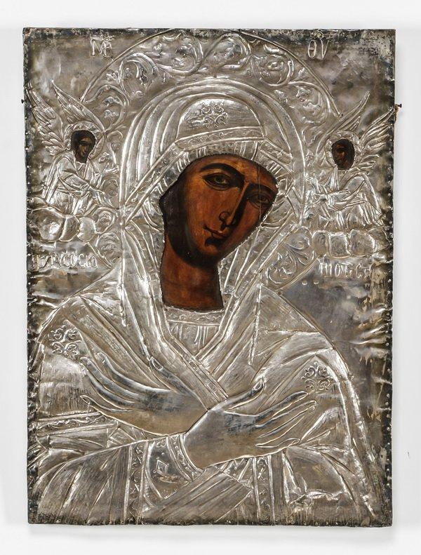 "Late 19th c. Greek Icon of Mary w/silver cover, 24""h"