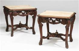 """Pair of French marble top side tables, 24""""w"""