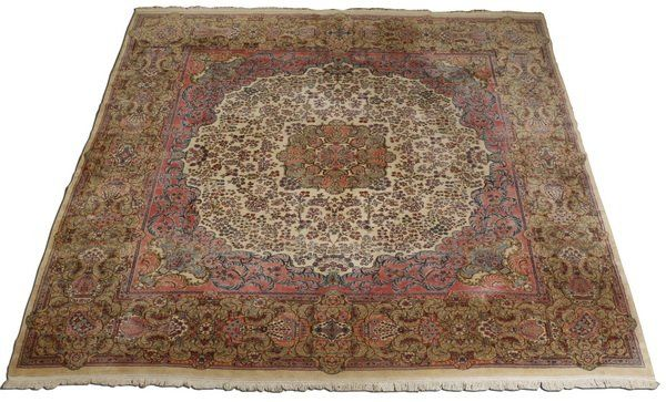Hand knotted Persian Kerman rug, 13 x 15