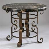 """Comtemporary marble top side table, 36""""w"""