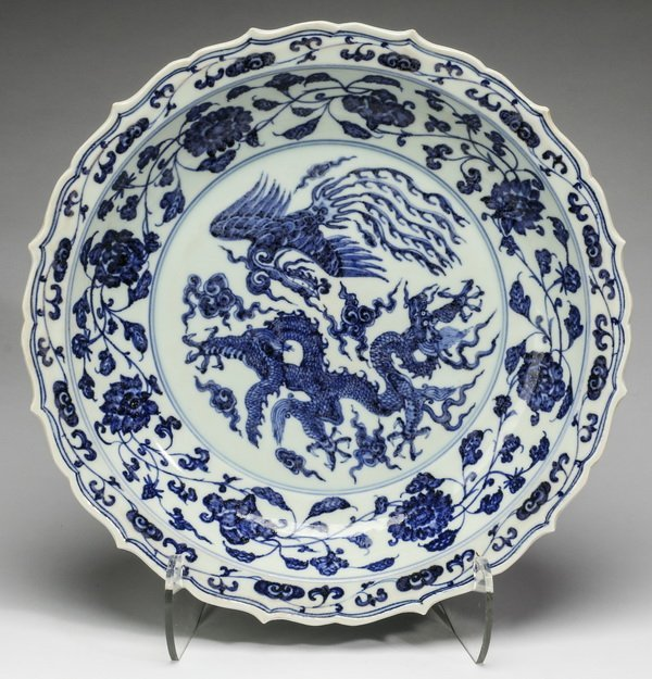 """Chinese Ming style dragon and phoenix charger, 21""""w"""