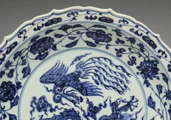 """Chinese Ming style dragon and phoenix charger, 21""""w - 2"""