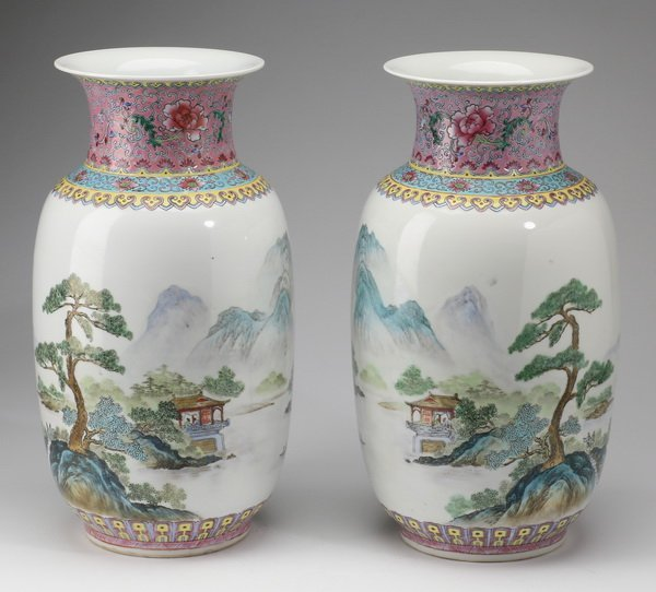 (2) Finely potted Chinese baluster vases, 13""