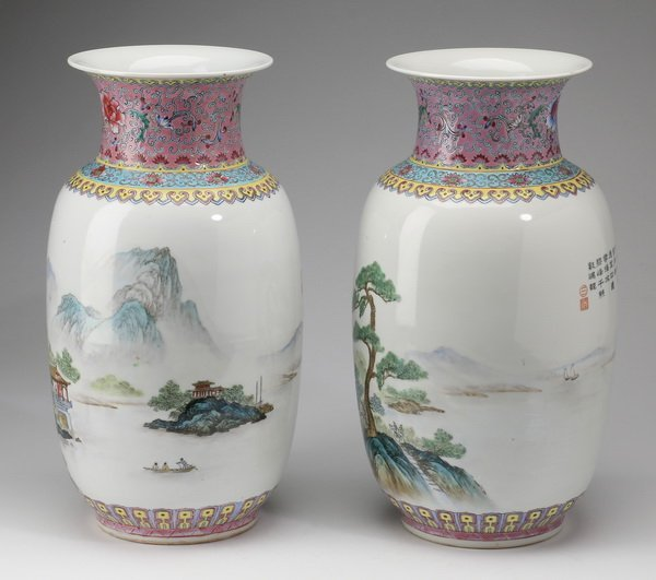 "(2) Finely potted Chinese baluster vases, 13"" - 2"