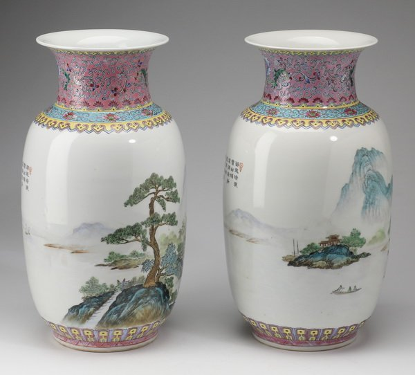 """(2) Finely potted Chinese baluster vases, 13"""" - 4"""