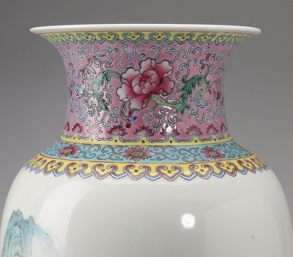 """(2) Finely potted Chinese baluster vases, 13"""" - 8"""