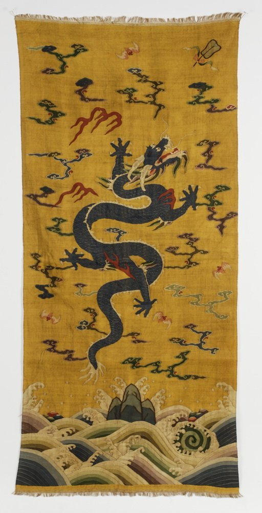 "Chinese woven kesi banner of a dragon, 55""l"