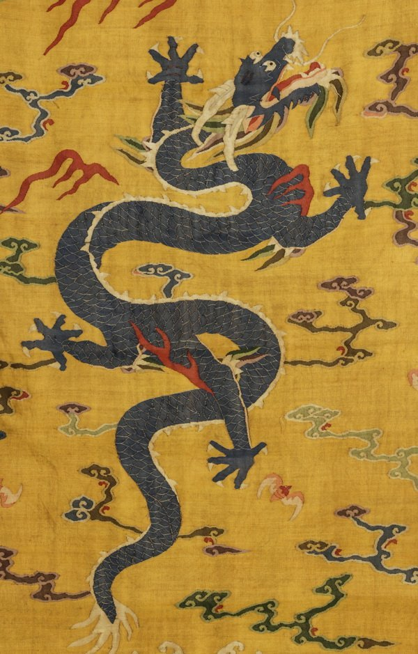 "Chinese woven kesi banner of a dragon, 55""l - 2"