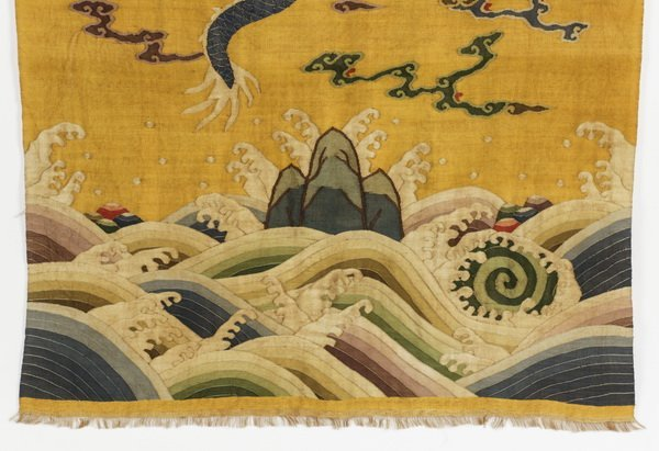 "Chinese woven kesi banner of a dragon, 55""l - 4"