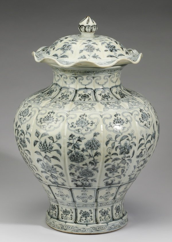 """Large Chinese covered jar, w/ auspicious flowers, 22"""" - 2"""
