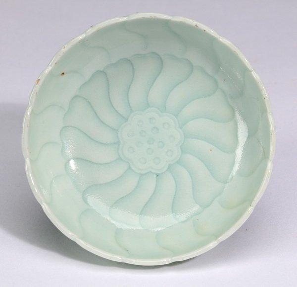 """Chinese celadon lotus saucer, 3.5""""w."""