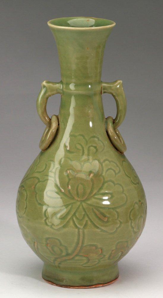 "Chinese celadon bottle vase, 10""h"