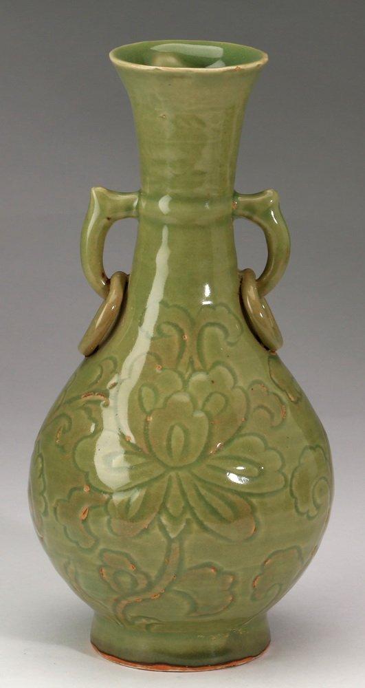 "Chinese celadon bottle vase, 10""h - 3"