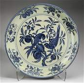 """Large Chinese charger with parrots and flowers, 23""""w"""