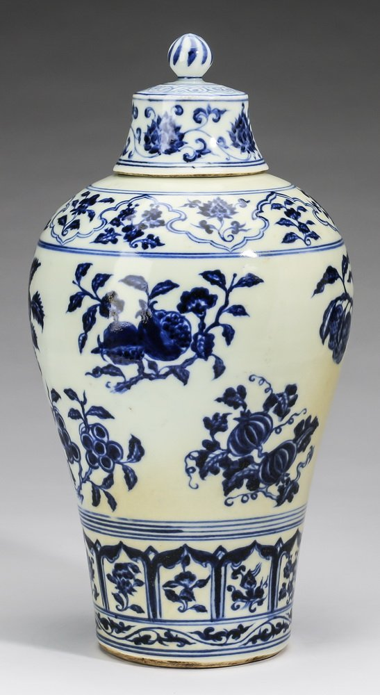 """Chinese covered meiping vase, 12""""h - 2"""