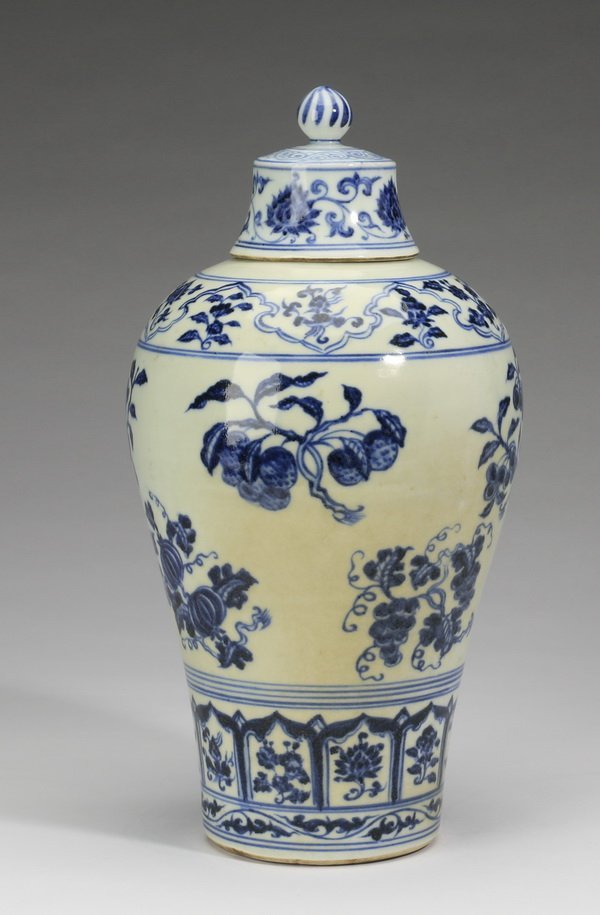 "Chinese covered meiping vase, 12""h - 3"