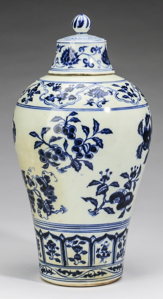 "Chinese covered meiping vase, 12""h - 4"