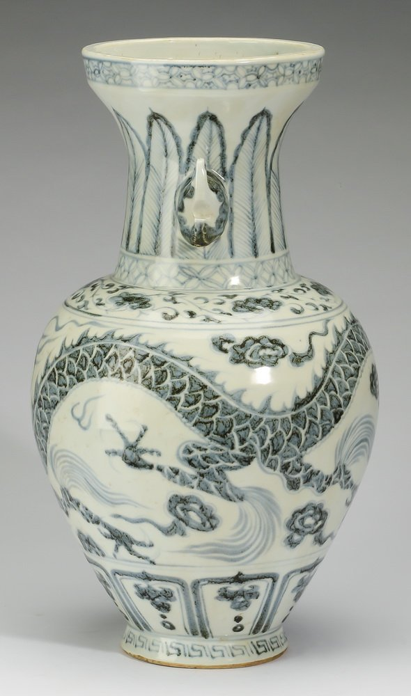 """Chinese blue and white baluster dragon vase, 17""""h - 2"""
