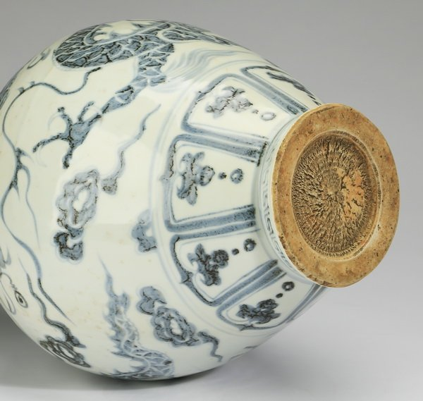 """Chinese blue and white baluster dragon vase, 17""""h - 6"""