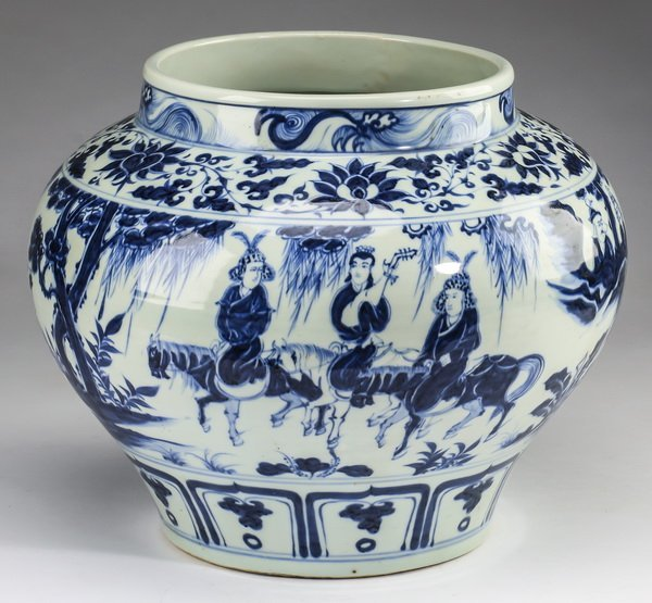 """Chinese Yuan style jar w/ warriors, 12""""h"""