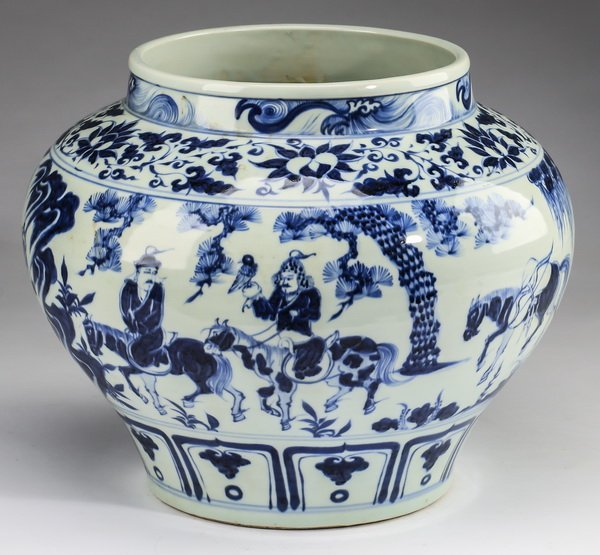 """Chinese Yuan style jar w/ warriors, 12""""h - 3"""