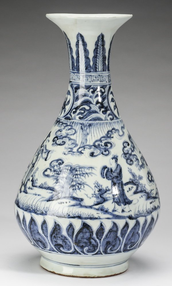 "Chinese vase with Emperor and court official, 18""h - 2"