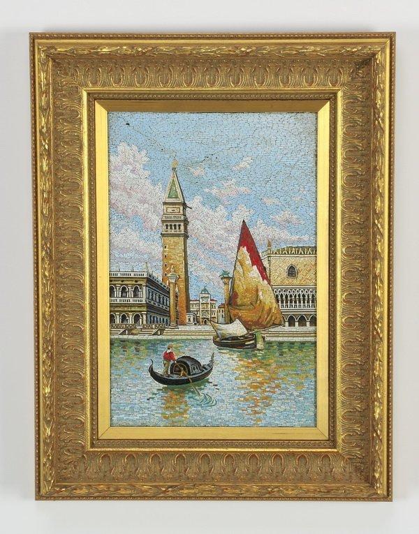 "Framed Italian micro-mosaic of Venice, 18""h"