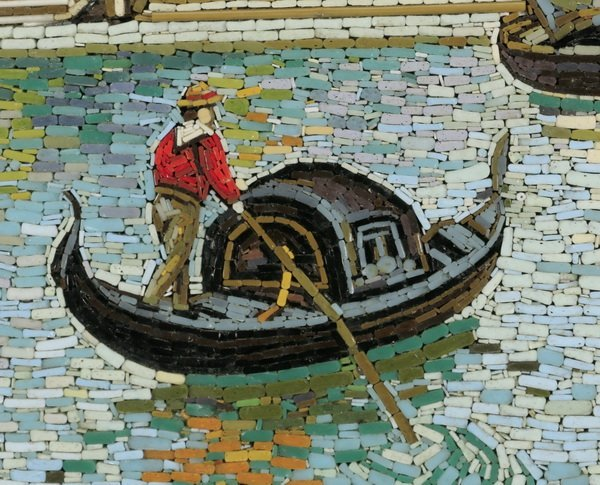 "Framed Italian micro-mosaic of Venice, 18""h - 2"