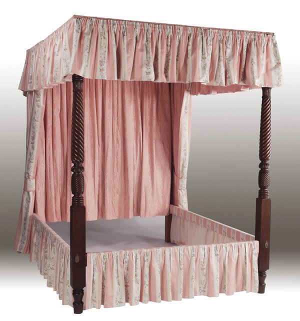 Custom upholstered queen size canopy bed