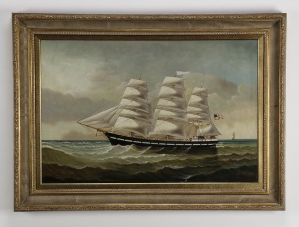 """D. Tayler signed O/c, three-masted clipper ship, 44""""w"""