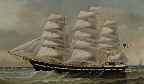 """D. Tayler signed O/c, three-masted clipper ship, 44""""w - 2"""