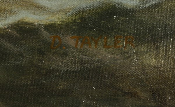 """D. Tayler signed O/c, three-masted clipper ship, 44""""w - 3"""