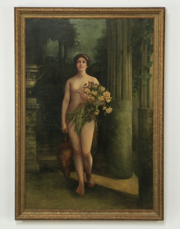 Continental O/c of springtime maiden, early 20th c.