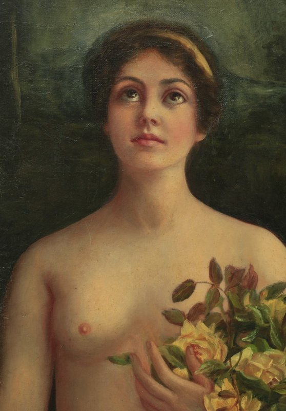 Continental O/c of springtime maiden, early 20th c. - 2