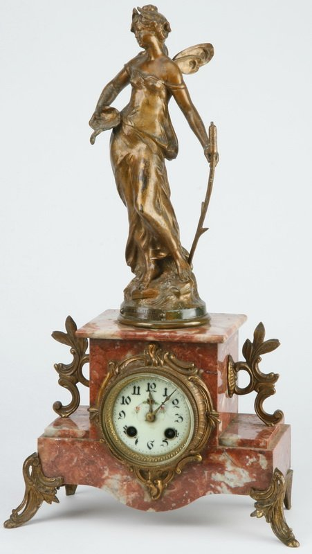 "After Moreau, French 'Libellule' mantel clock, 20""h"
