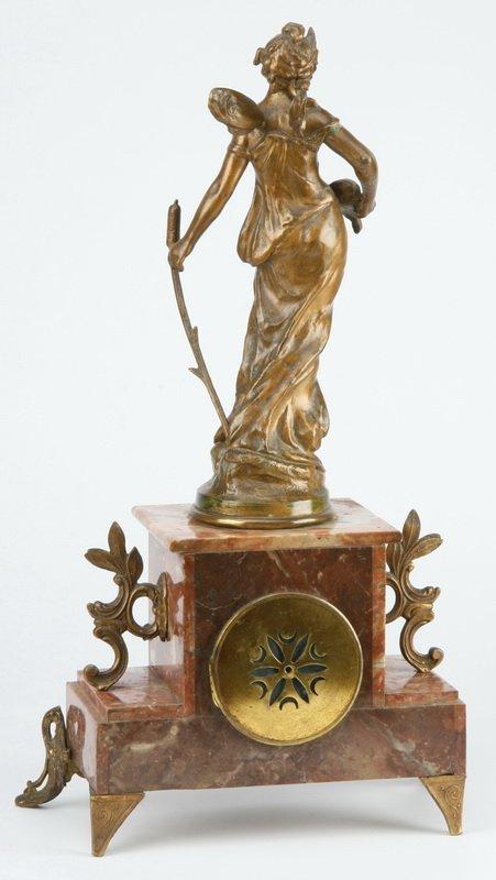 "After Moreau, French 'Libellule' mantel clock, 20""h - 2"
