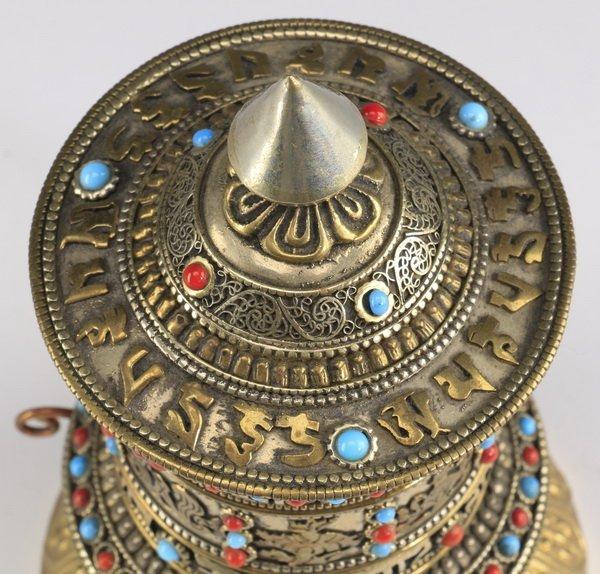 Tibetan Buddhist hand-held prayer wheel - 2