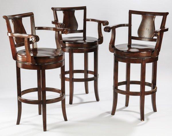 (3) Carved mahogany barstools w/ swivel seats
