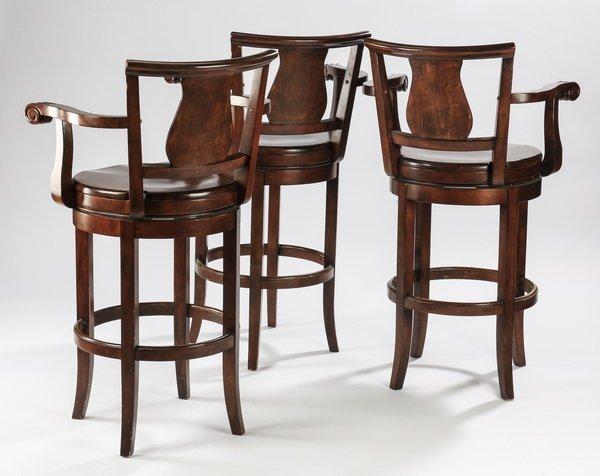 (3) Carved mahogany barstools w/ swivel seats - 2