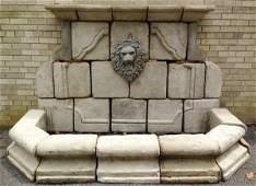Cast stone garden wall fountain w lions mask 86w