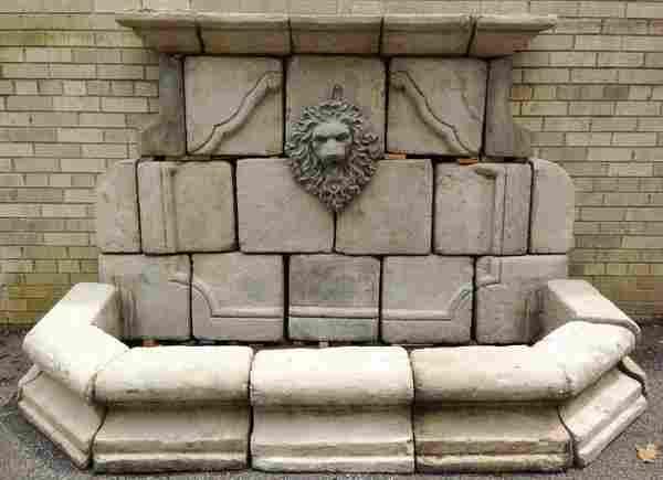 """Cast stone garden wall fountain w/ lion's mask, 86""""w"""