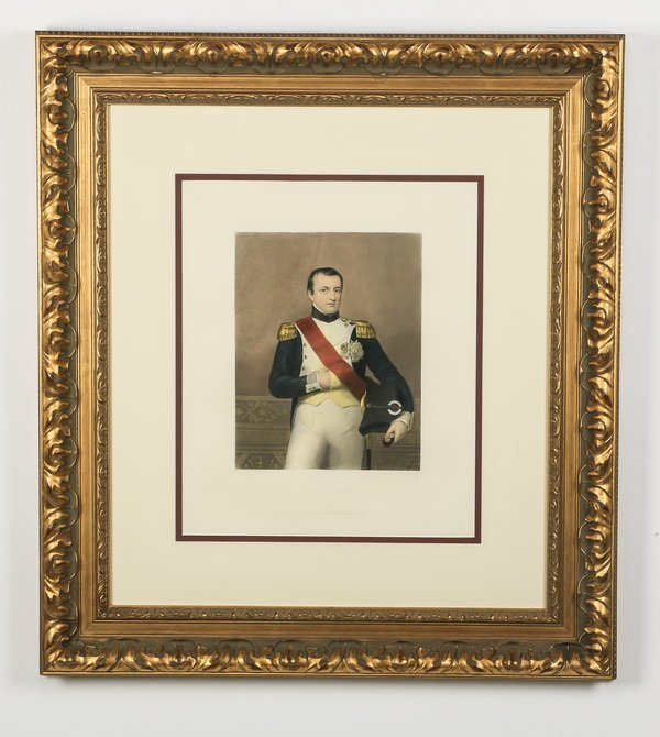 Late 19th c. hand colored engraving of Napoelon