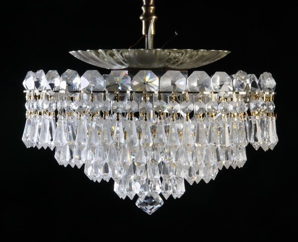 "Schonbek 6-light crystal ceiling fixture, 12""w"