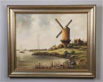 "German O/C landscape, signed Bernitzke, 33""w"