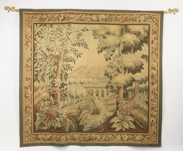 "French style wool tapestry, 79""h"