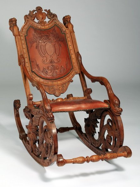 19th c. carved Venetian fantasy rocking chair