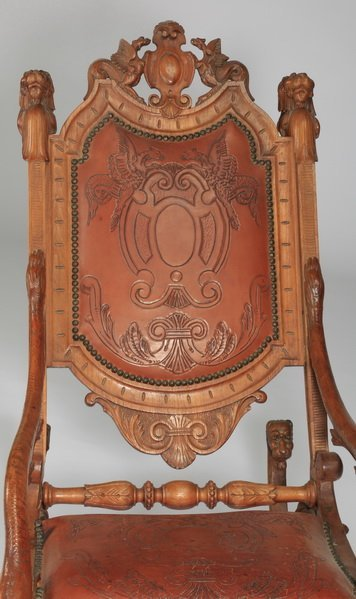 19th c. carved Venetian fantasy rocking chair - 2